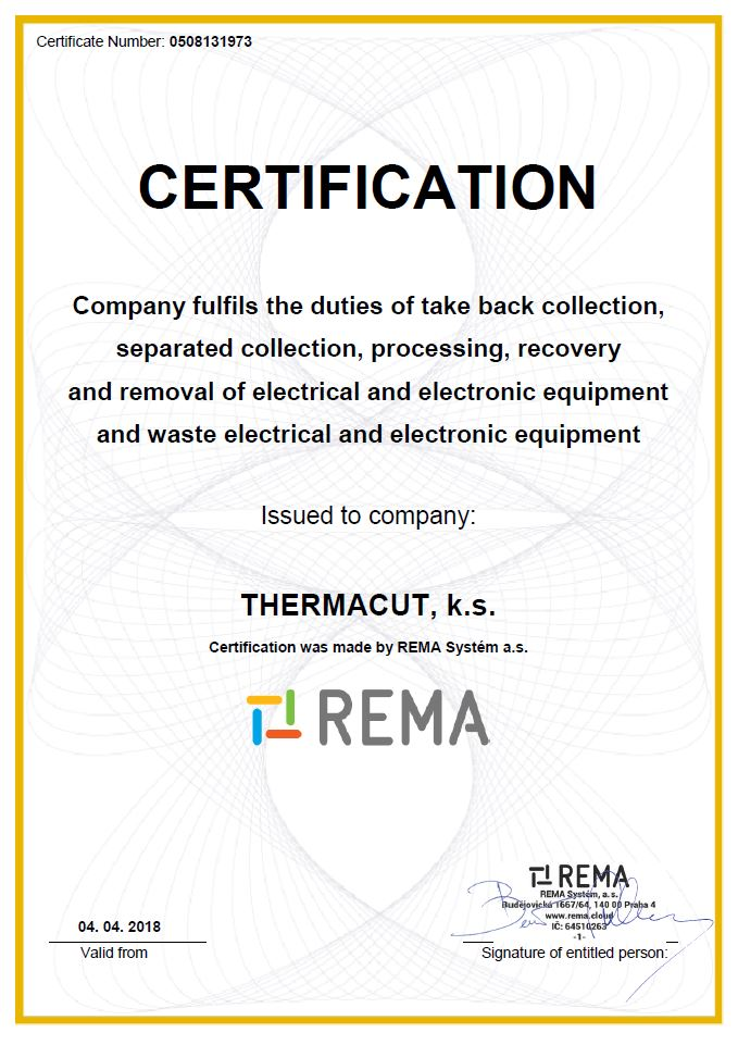 Thermacut Us Certificates